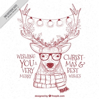 Hipster reindeer sketchy background with christmas messages