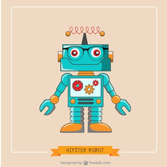 Hipster robot vector free illustration