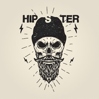 Hipster Skull with Beard Illustration