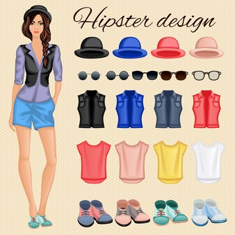 Hipster woman design