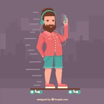 Hispter guy in his skate
