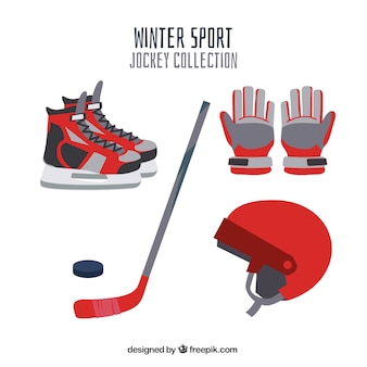 Hockey elements collection in flat design