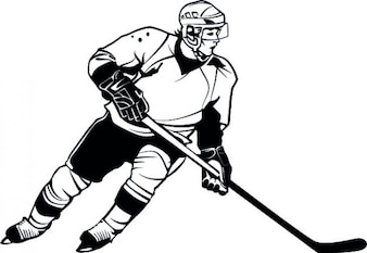 Hockey player detailed cartoon vector