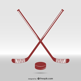 Hockey sticks and puck