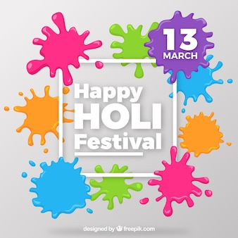 Holi background with colorful paint stains