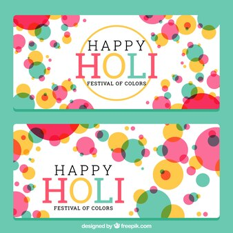 Holi banners with colorful circles