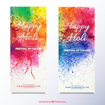 Holi banners with paint splatters