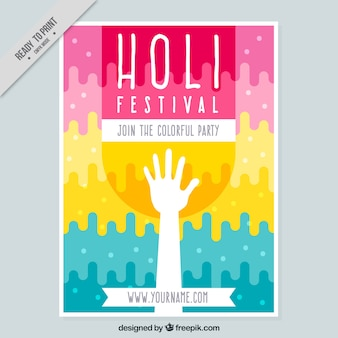 Holi brochure template with abstract shapes and white hand