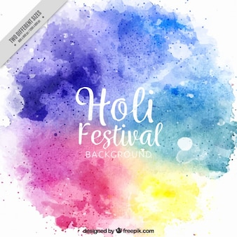 Holi festival background painted with watercolor