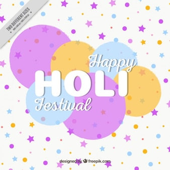 Holi festival background with circles and stars