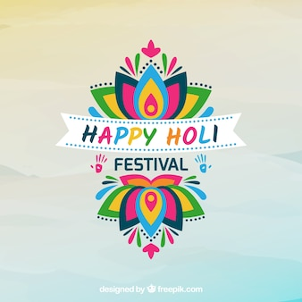 Holi festival background with colorful flower