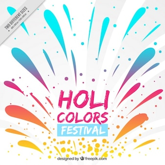 Holi festival background with colorful splatters