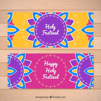 Holi festival banners with colorful mandalas in flat design