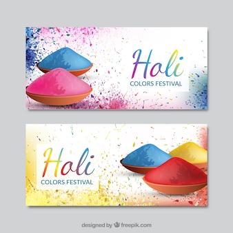 Holi Festival banners with ornaments