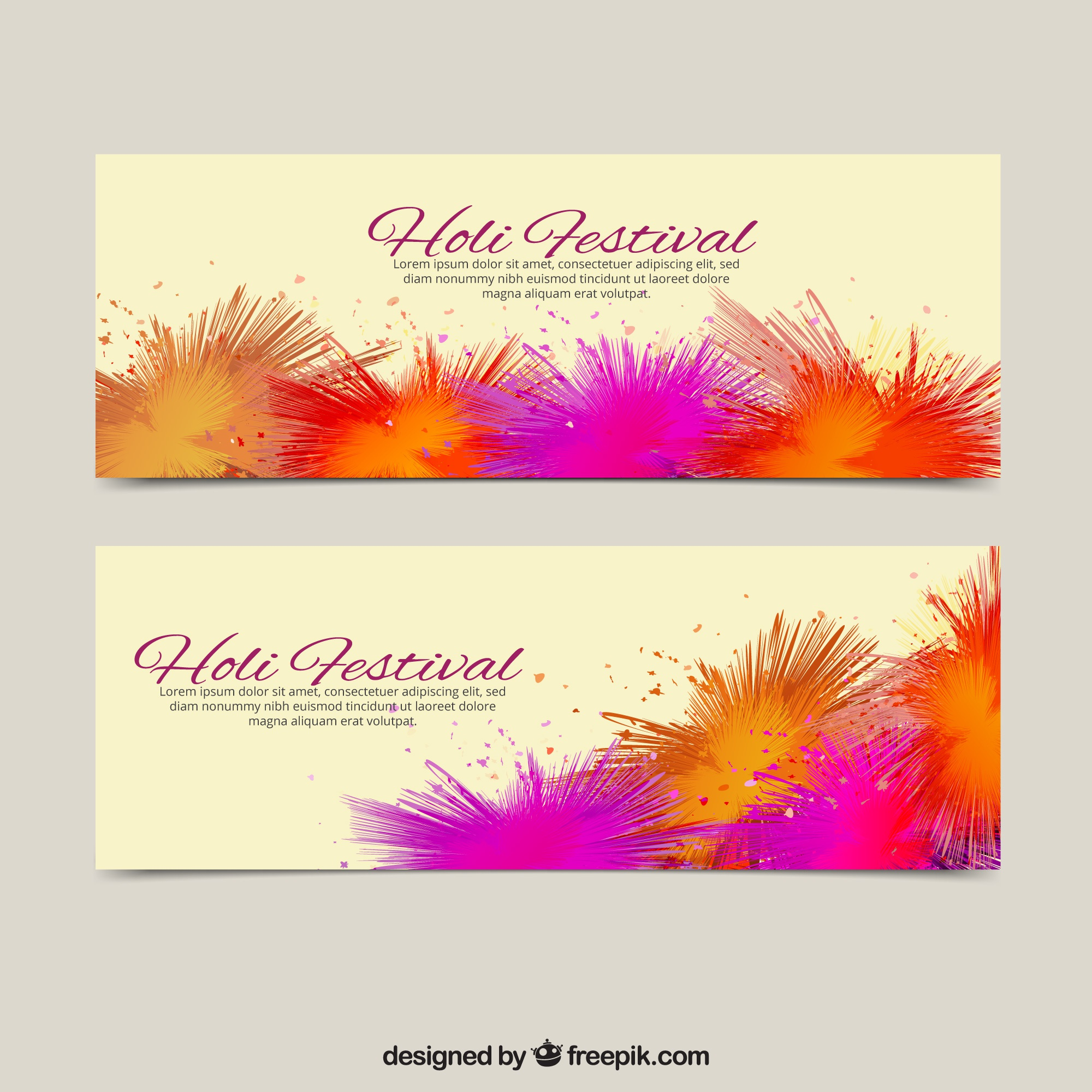 Holi festival banners with purple and orange stains