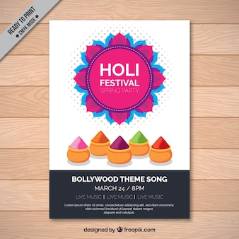 Holi festival brochure template with colored elements