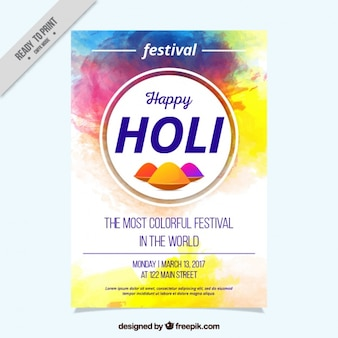 Holi festival flyer template painted with watercolor