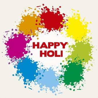 Holi Greeting Card with Paint Splashes