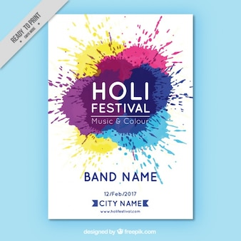 Holi party leaflet with stains in different colors