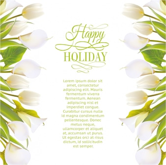Holiday background with floral frame