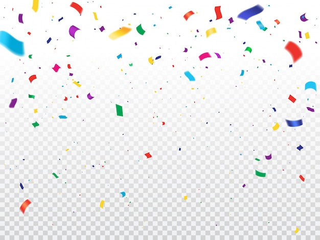 Holiday background with flying confetti