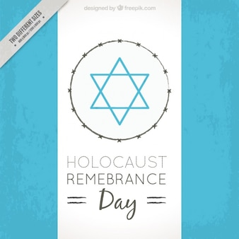 Holocaust remembrance day, blue star on white background