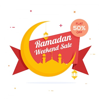 Holy Month, Ramadan Weekend Sale Ribbon design, Creative big crescent moon with mosque and lamps for Islamic Festivals celebration.