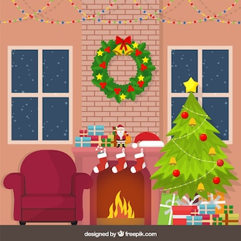 Home background with christmas decoration