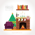 Home background with fireplace and christmas tree