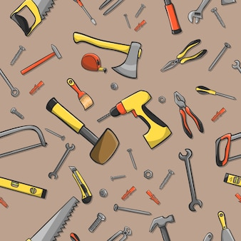 Home construction tools on a seamless brown pattern background vector illustration