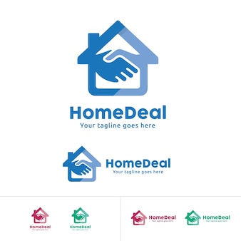 Home Deal Logo, Home Trade Company Identity, Home with hand shake symbol