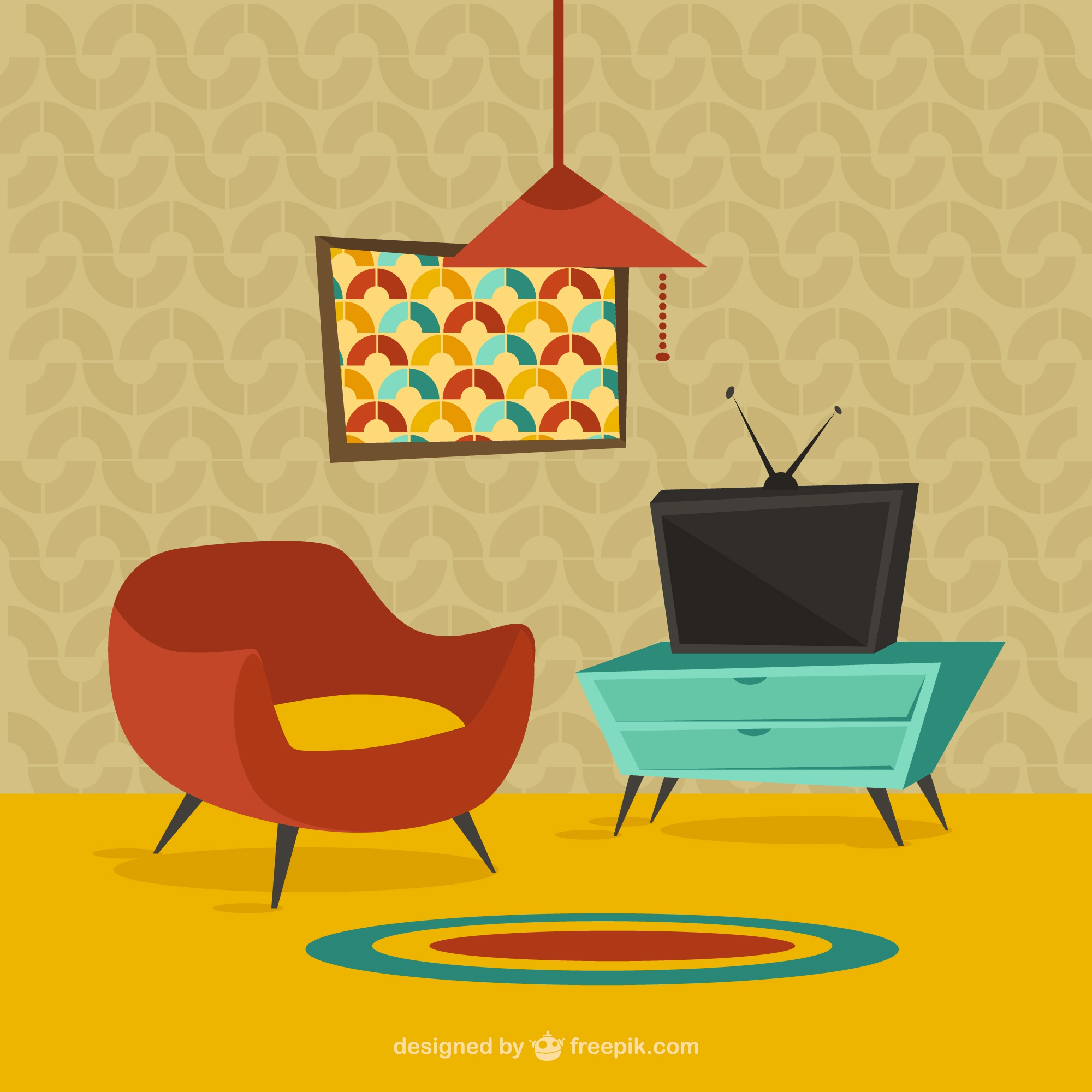 Home furniture in cartoon style