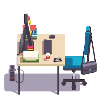 Home or office desk with casters chair, computer