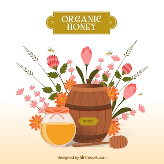 Honey background with a barrel