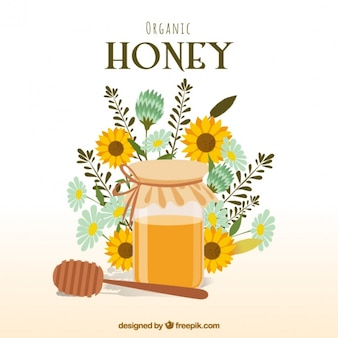 Honey background with flowers