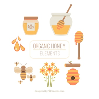 Honey equipment in flat design