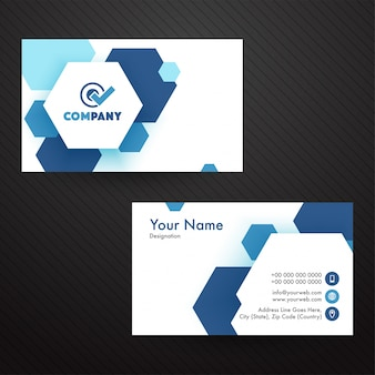 Horizontal Business or Visiting Card with hexagons.