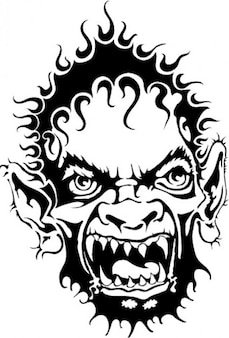 Horrible monster face vector clip art