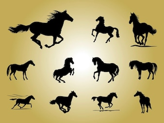 Horse farm animals vector silhouettes