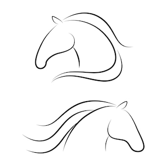 Horse heads outlines