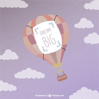 Hot air ballon flying