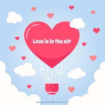 Hot air balloon background with heart shape
