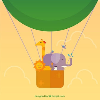 Hot air balloon with animals