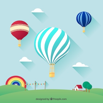 Hot air balloons flying