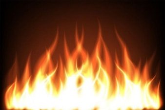 Hot fiery flames dark background