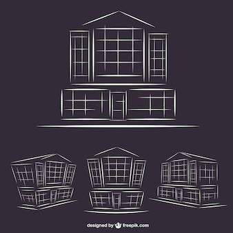 Hotel buildings line art graphics