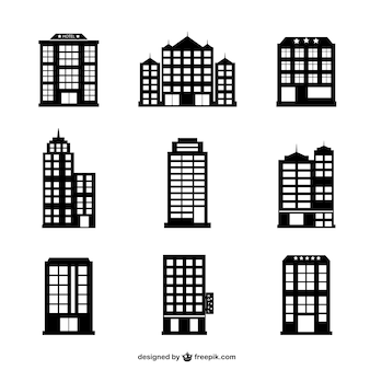 Hotel buildings silhouettes set