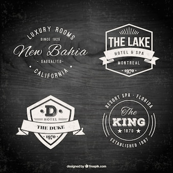 Hotel logo templates in a retro style