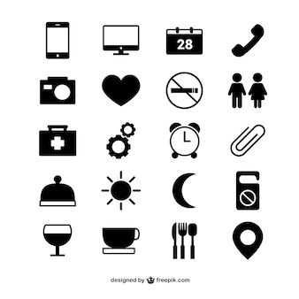 Hotel room vector icons