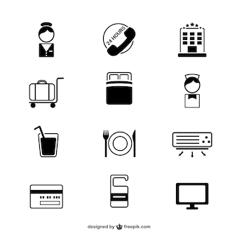 Hotel simple icons set